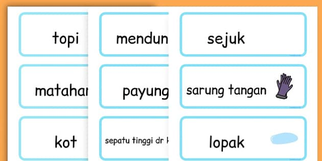 Winter Word Cards - seasons, weather, key words, visual aids  - Malay