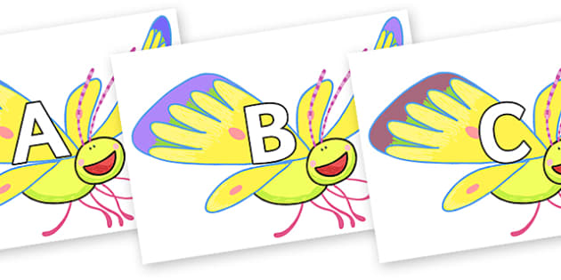 A-Z Alphabet on Yellow Butterfly to Support Teaching on The Crunching Munching Caterpillar - A-Z, A4, display, Alphabet frieze, Display letters, Letter posters, A-Z letters, Alphabet flashcards