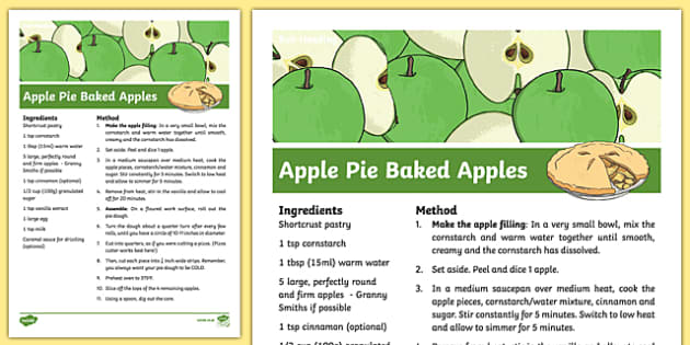 Apple Pie Baked Apples Recipe - cooking, recipe, autumn, eyfs, early years, apple pie, baked apples