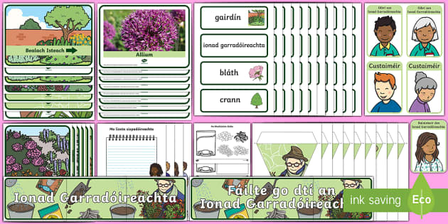 The Garden Centre Aistear as Gaeilge Display Pack - Aistear, Infants, English Oral Language, School, The Garda Station, The Hairdressers, The Airport, T