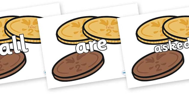 Tricky Words on Chocolate Coins - Tricky words, DfES Letters and Sounds, Letters and sounds, display, words