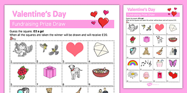 Adult Education Valentine's Day Fundraising Sheet - Elderly, Reminiscence, Care Homes, Valentine's Day