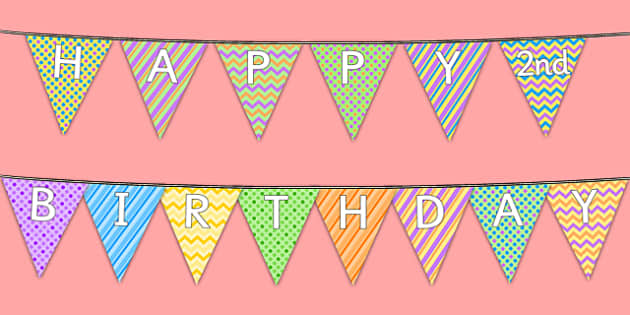 Happy 2nd Birthday Bunting - 2nd birthday, 2nd birthday party, party, bunting, new parents, one year old, baby