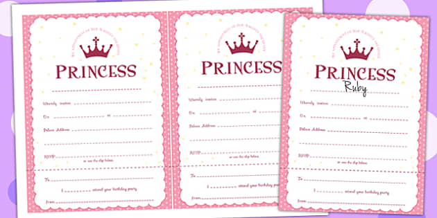 Princess Themed Birthday Party Invitations - traditional tales