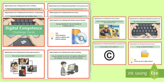 Digital Competence Year 4 Challenge Cards - Digital Competence Framework, Planning, Year 3, Year 4, Year 5, Year 6, Wales, ICT, ICT in Key Stage