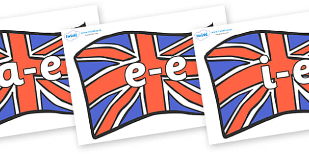 Modifying E Letters on British Flags - Modifying E, letters, modify, Phase 5, Phase five, alternative spellings for phonemes, DfES letters and Sounds