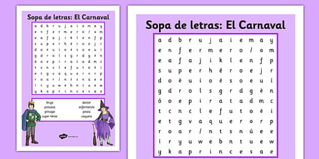 Sopa de letras: El Carnaval Spanish - spanish, carnival, carnaval, festivities, fiestas, spanish, spain, culture, costumes, disfraces, sopa de letras, word search