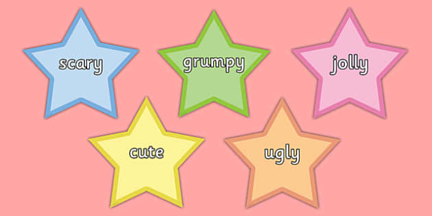 Wow Words on Stars Pastel Colours - wow words, stars, colours