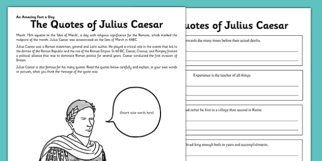 The Quotes of Julius Caesar Activity Sheet - julius ceaser, quotes, rome, roman, emperor, worksheet