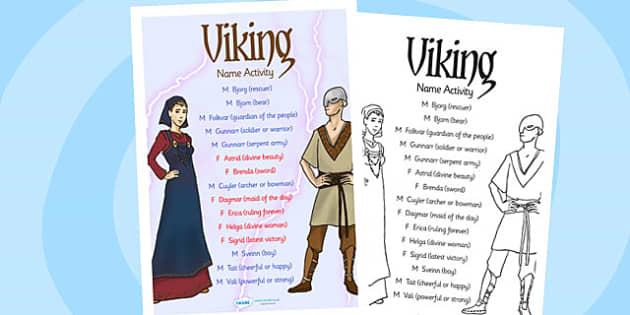 Viking Name Activity - vikings, viking, history, history activity