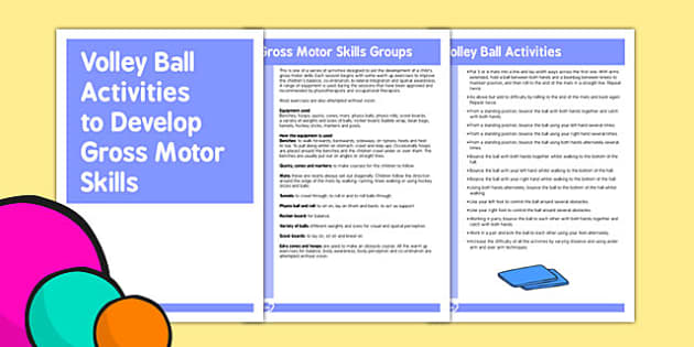 Volley Ball Gross Motor Skills Activities - gross motor, activity