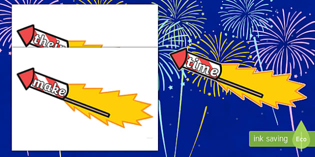 Phase 5 Words on Firework Rockets Cut-Outs