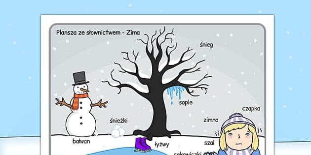 Plansza ze słownictwem Zimowa sceneria po polsku - zima, grudzień