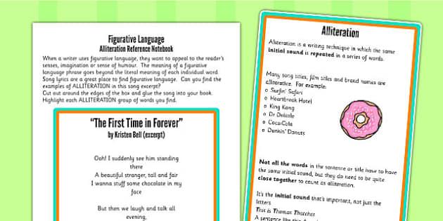 Y5 6 Figurative Language Activity Reference Sheet Alliteration
