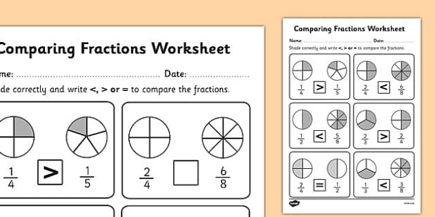 Comparing Fractions Worksheet - fractions, comparing fractions