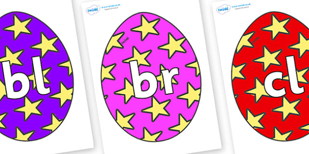 Initial Letter Blends on Easter Eggs (Stars) - Initial Letters, initial letter, letter blend, letter blends, consonant, consonants, digraph, trigraph, literacy, alphabet, letters, foundation stage literacy