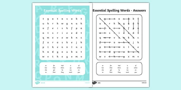 New Zealand List 2 Essential Spelling Word Search