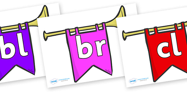 Initial Letter Blends on Banners - Initial Letters, initial letter, letter blend, letter blends, consonant, consonants, digraph, trigraph, literacy, alphabet, letters, foundation stage literacy