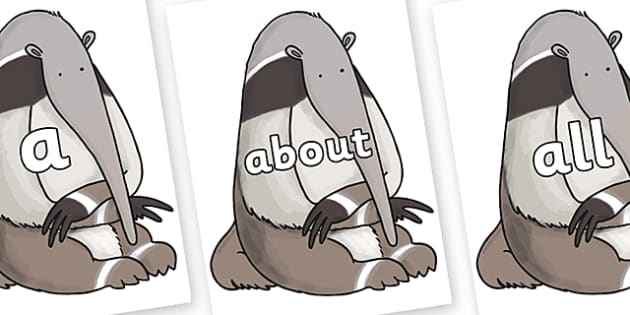 100 High Frequency Words on Anteater to Support Teaching on The Great Pet Sale - High frequency words, hfw, DfES Letters and Sounds, Letters and Sounds, display words