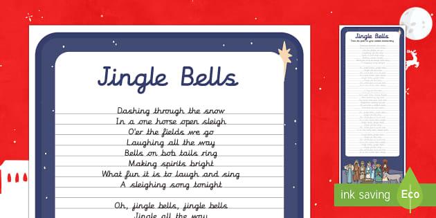 Jingle Bells Christmas Carol Handwriting Practice Activity - Christmas, Nativity, Jesus, xmas, Xmas, Father Christmas, Santa, St Nic, Saint Nicholas, traditions,