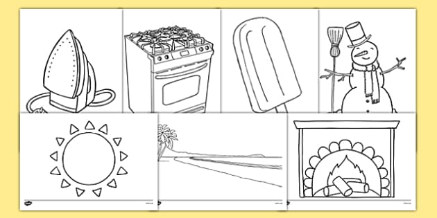 Temperature Colouring Sheets - temperature, colouring, colour, hot, cold
