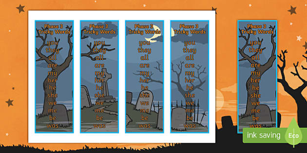 Halloween Themed Phase 3 Tricky Word Bookmarks