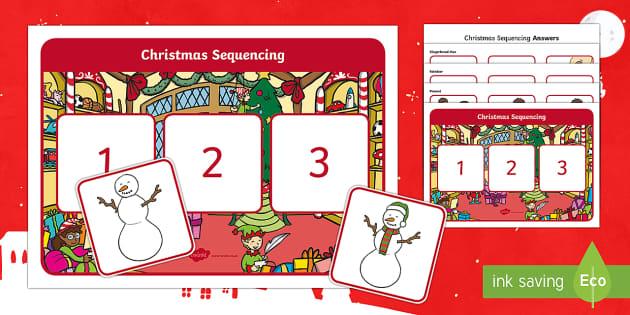 Christmas Sequencing Activity - Canada Christmas, christmas, Christmas, gingerbread, tree, christmas tree, reindeer, snowman, presen