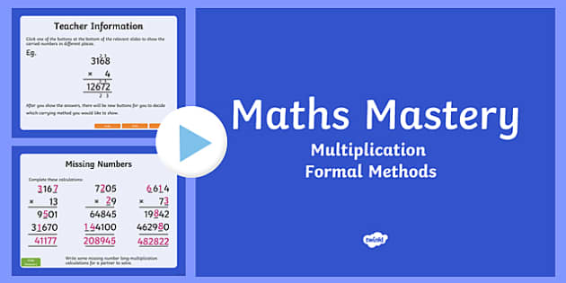 Year 5, Multiplication and Division, Formal Multiplication Maths Mastery Activities PowerPoint