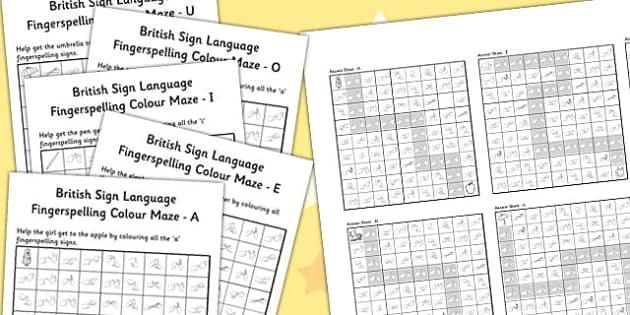 British Sign Language Fingerspelling Colour Maze Vowel Pack
