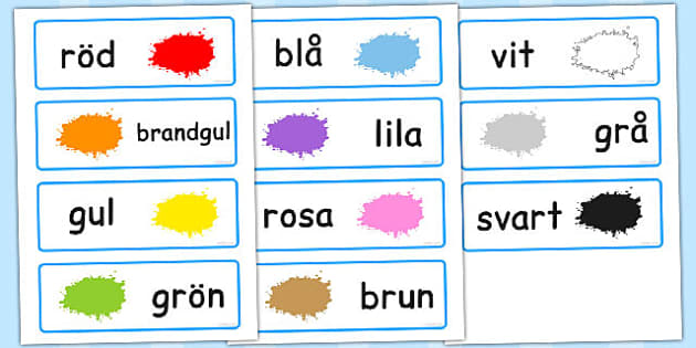 Swedish Colour Word Cards - swedish, colour, word, cards, words