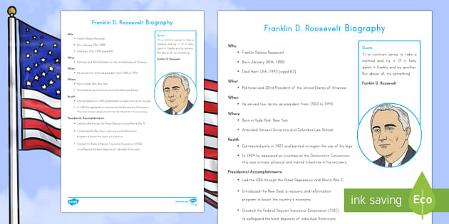 Franklin D. Roosevelt Fast Facts Fact File - American Presidents, American History, Social Studies, Barack Obama, Lyndon B. Johnson, Franklin D.