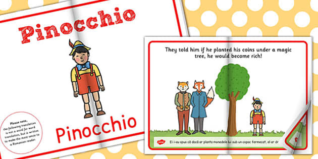 Pinocchio, lectura, rezumat cu imagini, poveste ilustrata, Romanian