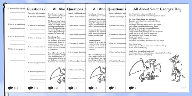 St George's Day Reading Comprehension Pack Differentiated - St George's Day, St George, St George and the dragon, George and the dragon, reading, comprehension, KS1, differentiated, reading questions, reading answers