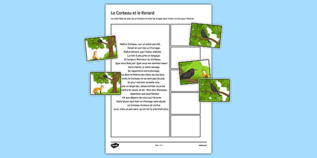 Le corbeau et le renard - french, le corbeau et le renard, france, Jean de La Fontaine, fable
