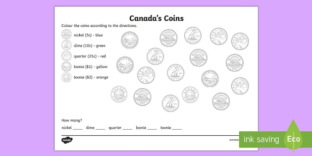 Canadian Coins Colouring Activity Sheet - Canada, canadian, currency, CAD, canadian money, money, canadian dollars, worksheet