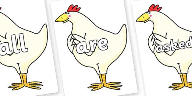 Tricky Words on Hullabaloo Chicken to Support Teaching on Farmyard Hullabaloo - Tricky words, DfES Letters and Sounds, Letters and sounds, display, words