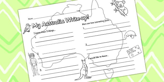 Australia Write Up Worksheet - write up, writing aid, writing