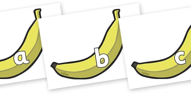 Phase 2 Phonemes on Bananas - Phonemes, phoneme, Phase 2, Phase two, Foundation, Literacy, Letters and Sounds, DfES, display