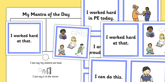 Flashcard Mantras to Help Children Develop Self Confidence - build, support, encourage, increase, ideas, cards, positive, improve, sayings, quotes, ks1, ks2, key stage 2, independent