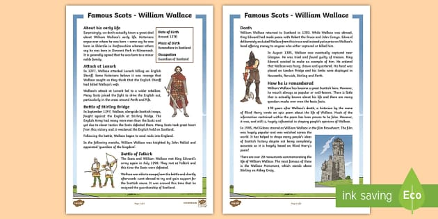 William Wallace Fact File - CfE Scottish Significant Individuals, William Wallace, fact file, Scottish Wars of Independence,Scot