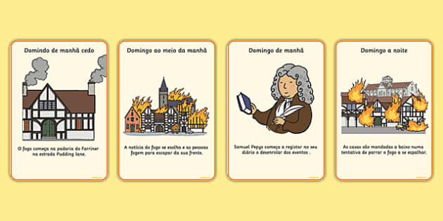 The Great Fire of London Events Timeline Cards Portuguese - portuguese, great fire of london, events, timeline, cards