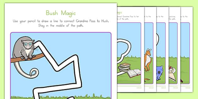 Bush Magic Pencil Control Path Activity Sheets - australia, possum magic, bush magic, pencil control path, worksheet