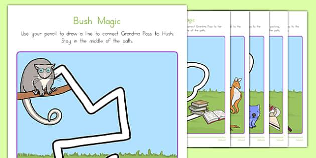 Bush Magic Pencil Control Path Activity Sheets - australia, possum magic, bush magic, pencil control path, worksheet
