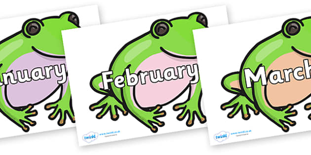 Months of the Year on Green Tree Frog - Months of the Year, Months poster, Months display, display, poster, frieze, Months, month, January, February, March, April, May, June, July, August, September