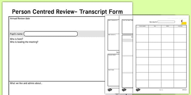 Person Centred Review Transcript Form - person centred review, transcript form
