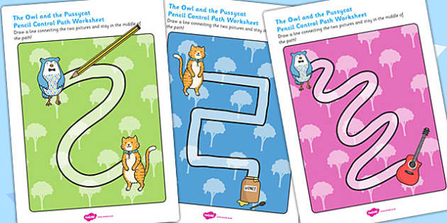 The Owl and the Pussycat Pencil Control Path Worksheets - poems