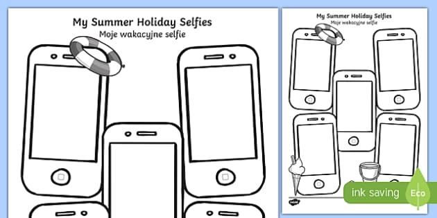 Summer Holiday Selfies Writing Template Polish Translation - polish, holiday, summer, term, break, holidays, selfie, selfy, photo, portrait, picture