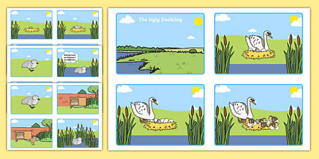 The Ugly Duckling Story Sequencing (4 per A4) - The Ugly Duckling, Hans Christian Andersen, Andersen, fairy tale, sequencing, story sequencing, story resources, A4, cards, 4 per A4, Danish, bird, barnyard, swan, beautiful, ugly, transformation, tale,