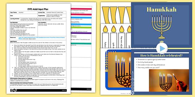 Hanukkah Menorah Candle Game EYFS Adult Input Plan and Resource Pack