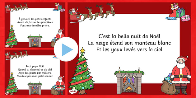 T'was the Night Christmas Poem PowerPoint French - french, twas the night before christmas, poem